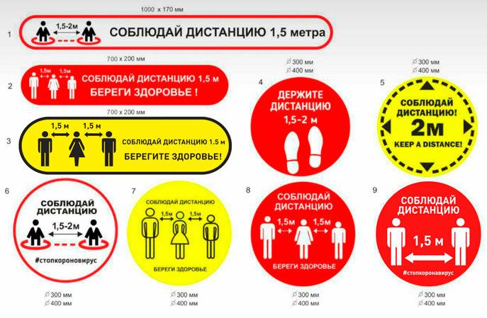разметки пола для соблюдения социальной дистанции при коронавирусе