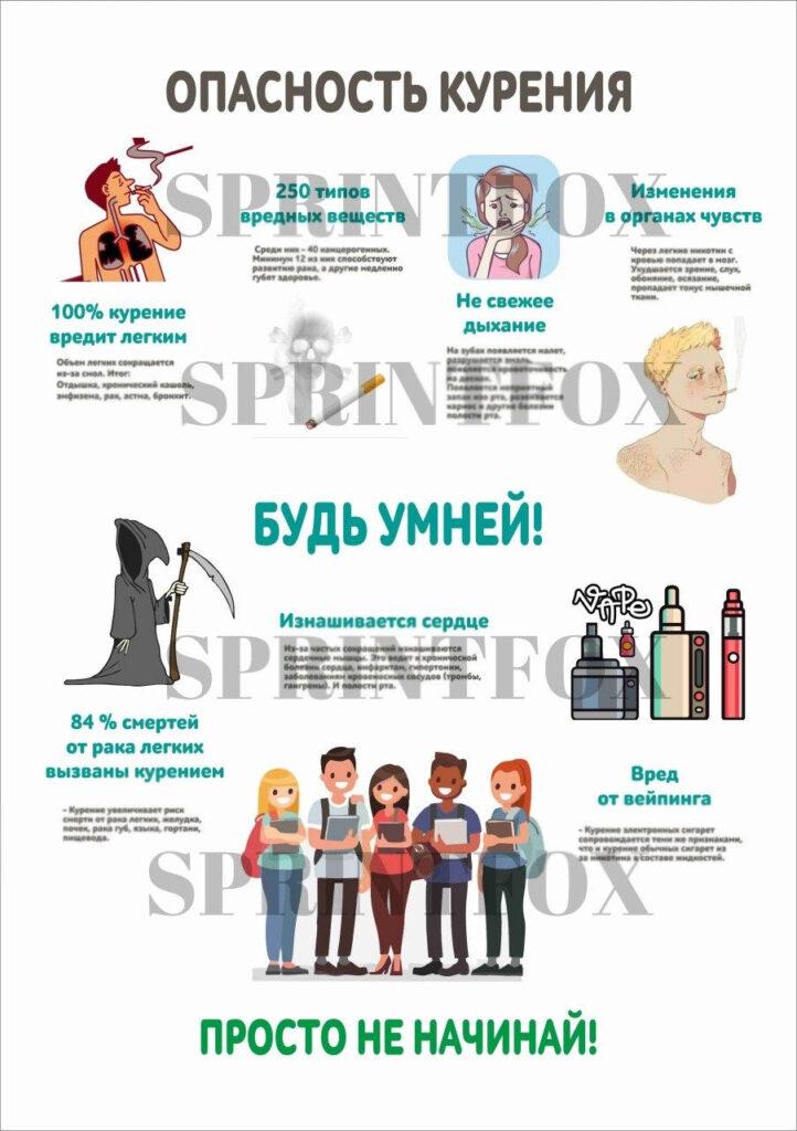 Опасность курения - наглядное пособие плакат А2 в рамке для размещения в школе или мед.учреждении для предостережения и оповещения о негативном влиянии курения